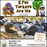 5 Fat Turkeys are We Song, Reader, Coloring Book