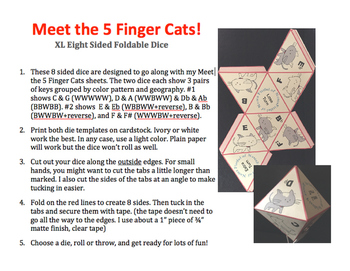 5 Finger Cats XL 8 Sided Dice
