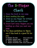 5 Finger Check for Just Right Books Poster- Black & Bright