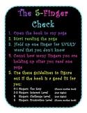 5 Finger Check for Just Right Books Poster- Black & Bright