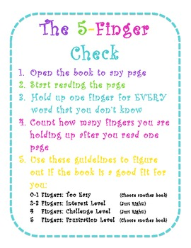 5 Finger Check for Just Right Books Poster- White & Bright