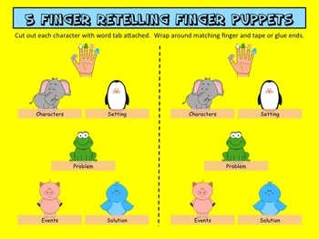 5 Finger Retell Posters and Finger Puppets - Cute Animal Themed!