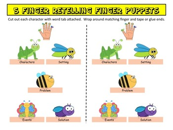 5 Finger Retell Posters and Finger Puppets - Cute Insect/Bug Themed!