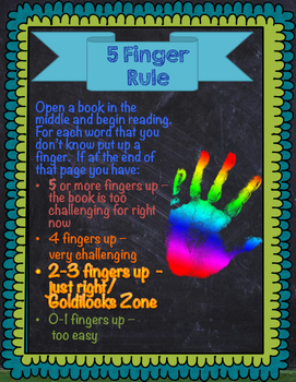 5 Finger Rule / Choosing the Right Book / Bright Chalkboard Theme