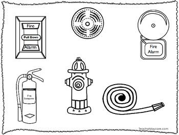 5 Fire Fighter themed Coloring Worksheets.  Homeschool educational worksheets.