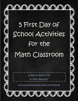 5 First Day of School Activities for the Math Classroom