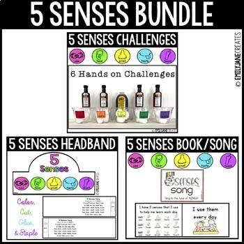 5 Five Senses BUNDLE-Challenges, Headband, & Book