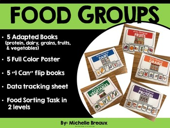 5 Food Groups Adapted Books & MORE (Autism, SPED, life skills, vocational)