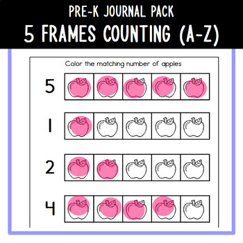 PreK Journal Pack - 5 Frames Counting (A-Z)