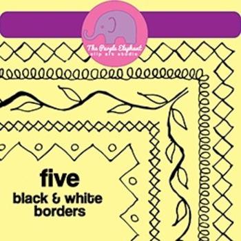 5 Free Borders - Clip Art - 8.5 x 11 Page