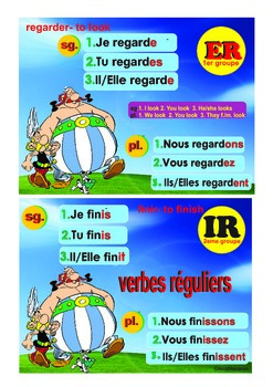 5 French posters avoir, etre, Er, IR, RE, vouloir, pouvoir, devoir