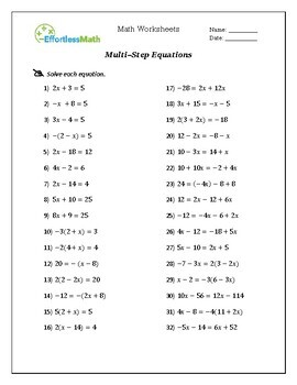 GED Math Equation & Inequality Worksheets by Effortless ...