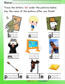 #5 Fun Fun Phonics (16 pages Dd, ad, da) Complete Answer Key