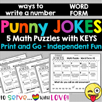 Word Form standard up to 100,000 / 3rd and 4th grade / Funny Math Jokes Set #4