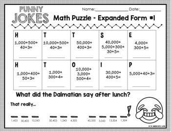 Expanded Form up to 100,000 / 3rd and 4th grade / Funny Pun Math Jokes Set #5