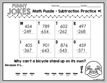 5 Fun Math Riddle Sheets // Set #2 // 3-digit subtraction w/ borrowing  {PUNNY}