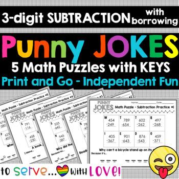 subtraction w/ borrowing / Funny Puns Math Jokes Riddles / Set #2 / zero prep