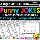 5 Fun Math Riddle Sheets // Set #2 // 3-digit subtraction