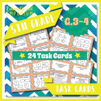 5.G.3 & 5.G.4 Task Cards - Two-Dimensional (2-D) Shapes (F