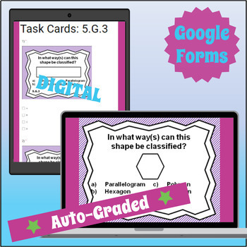 ⭐ SELF-GRADING ⭐ 5.G.3 Task Cards: 2D Shapes