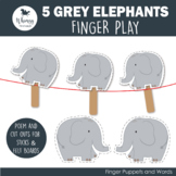 5 Gray Elephants Finger Play including PDF Patterns
