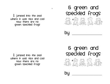 5 Green Speckled Frogs Mini-Book