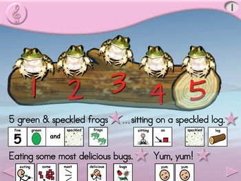 5 Green and Speckled Frogs - Animated Step-by-Step Song - SymbolStix