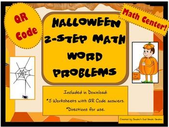 2nd Grade Halloween 2 Step Math Word Problems Worksheets w