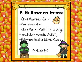 Halloween Grammar, Geography & Math Acrostic, Bingo, and Note Paper