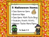 Halloween Grammar, Geography & Math Acrostic, Bingo, and N