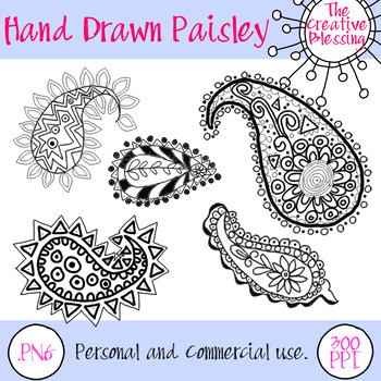 5 Hand Drawn Paisley Design Clip Art  Graphics