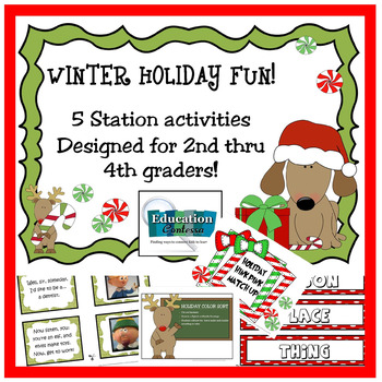 5 Holiday Fun Literacy Station Activities: Christmas and Winter