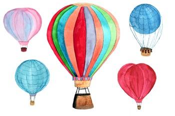 5 Hot Air Balloon PNG+JPEG