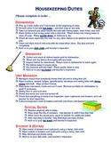 5 Housekeeping Duties (in a Foods Lab)