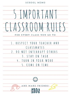 5 Important Classroom Rules Beginning of the Year
