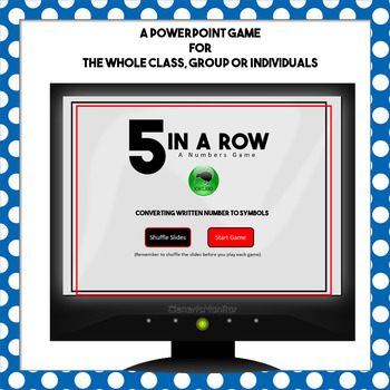 5 In A Row Written Number Conversion 1-20 PowerPoint Game with No Prep