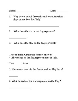 5 Independence Day/Fourth of July Worksheets