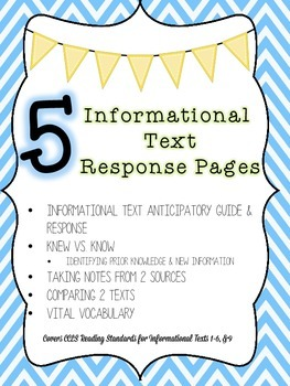 5 Informational Text Response Pages, Common Core Printables