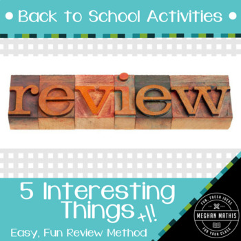 Back to School Activities: 5 Interesting Things +1 Review Activity