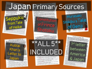 5 Japan Primary Sources: Tale of Genji, Seppuku, Shotoku,
