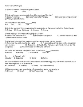 5 Julius Caesar Quizzes with Answer Keys - Fully Editable