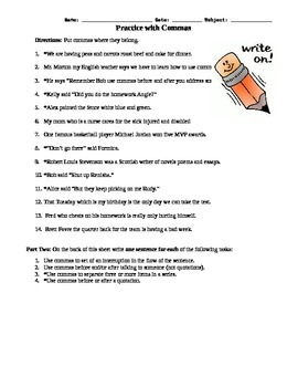 5.L.1, 5.L.2 Practice With Commas Assessment Worksheet