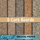 5 Large Grain Cork Board Backgrounds Digital Papers High Resolution