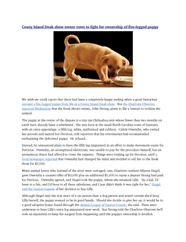 5-Legged Puppy Standardized Test Questions