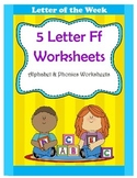 5 Letter F Worksheets / Alphabet & Phonics Worksheets / Letter of the Week