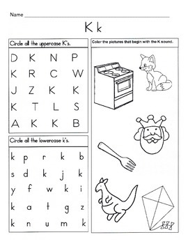 photograph about Letter K Printable called 5 Letter K Worksheets / Alphabet Phonics Worksheets / Letter of the 7 days