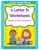 5 Letter S Worksheets / Alphabet & Phonics Worksheets / Letter of the Week