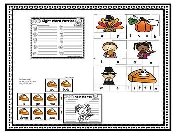 5 Literacy Centers Bundle - Thanksgiving Pre-Primer Sight Words