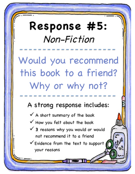 5 Literary Response Prompts (non-fiction)