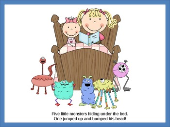 5 Little Monsters Hiding Under the Bed - Powerpoint